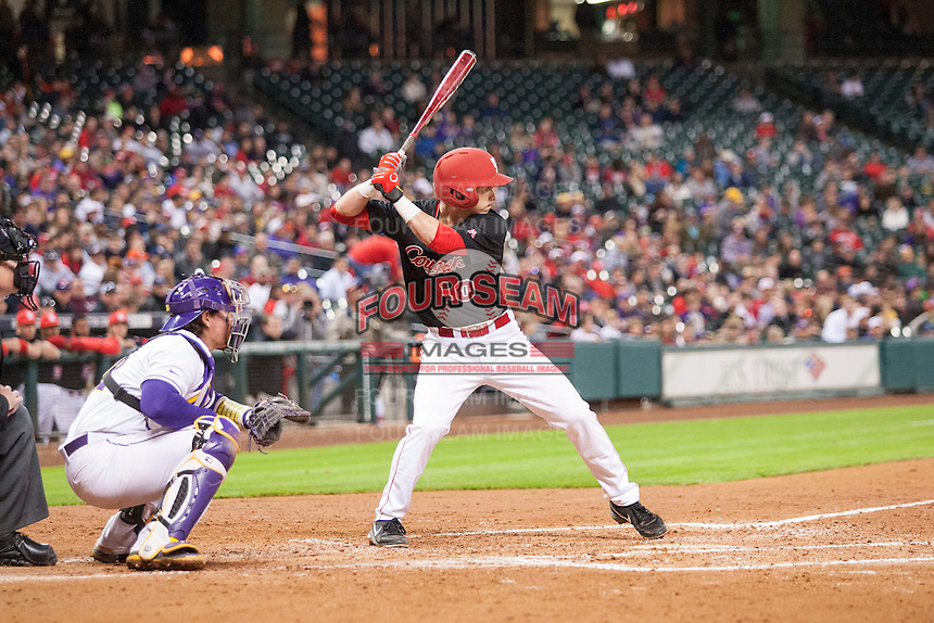 Houston Cougars shortstop Connor Wong (10) at bat during the NCAA baseball game against the LSU Tigers on March 6, 2015 at Minute Maid Park in Houston, Texas. LSU defeated Houston 4-2. (Andrew Woolley/Four Seam Images)