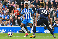 Jose Izquierdo of Brighton & Hove Albion (19) during the Premier League match between Brighton and Hove Albion and Everton at the American Express Community Stadium, Brighton and Hove, England on 15 October 2017. Photo by Edward Thomas / PRiME Media Images.