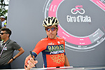 Domenico Pozzovivo (ITA) Bahrain-Merida at sign on before the start of Stage 9 of the 2018 Giro d'Italia, running 225km from Pesco Sannita to Gran Sasso d'Italia (Campo Imperatore), this year's Montagna Pantani, Italy. 13th May 2018.<br /> Picture: LaPresse/Gian Mattia D'Alberto | Cyclefile<br /> <br /> <br /> All photos usage must carry mandatory copyright credit (&copy; Cyclefile | LaPresse/Gian Mattia D'Alberto)