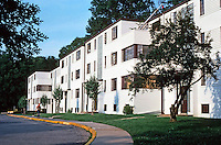 Greenbelt:  Apartment Units, Town Center 1937.  Art Deco style. Photo '85.