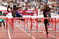 David Omoregie of Great Britain and Garfield Darien of France competesin the menís 110 metres hurdles  during the Muller Anniversary Games at The London Stadium on 9th July 2017