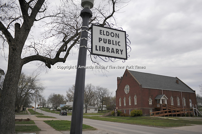 A sign for the Eldon public library is seen on Elm Street, the main drag through Eldon, Iowa, population 1,200, is seen in Eldon, Iowa on April 23, 2009. Eldon is the hometown of the American Gothic house, about one and a half hour southwest of Iowa City.