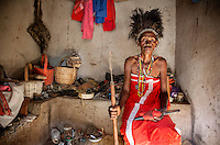 Witchdoctor Elena Jakson (50) during a spiritual ceremony that took place after the spirit Takawira entered her body.