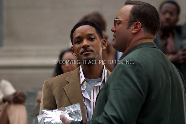 "Actors Will Smith and Kevin James were on the set of ""Last First Kiss"" at the Metropolitan Museum in New York City. In the movie Smith plays a Matchmaker who's fraudulent techniques are exposed by a female journalist. April 19 2004. Please byline: Brian Flannery/ACE Pictures.   ..*PAY-PER-USE*      ....IMPORTANT: Please note that our old trade name, NEW YORK PHOTO PRESS (NYPP), is replaced by our new name, ACE PICTURES. New York Photo Press and ACE Pictures are owned by All Celebrity Entertainment, Inc.......All Celebrity Entertainment, Inc:  ..contact: Alecsey Boldeskul (646) 267-6913 ..Philip Vaughan (646) 769-0430..e-mail: info@nyphotopress.com"