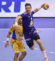 15.01.2013 Granollers, Spain. IHF men's world championship, prelimanary round. Picture show Xavier Barachet   in action during game between France v Brazil at Palau d'esports de Granollers