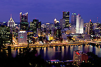 Pittsburgh, skyline, PA, Pennsylvania, Aerial view of the downtown skyline of Pittsburgh along the Monongahela River at night.