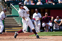 Patrick Drake (5) of the Missouri State Bears makes contact on a pitch during a game against the Wichita State Shockers on April 9, 2011 at Hammons Field in Springfield, Missouri.  Photo By David Welker/Four Seam Images