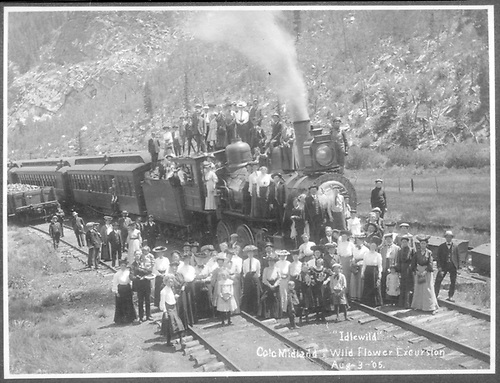 CM #27 and crowd at Idlewild ca. 1902.<br /> Colorado Midland  Idlewild, CO  ca 1902