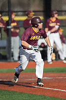 Seth Hoagland (1) of the Iona Gaels hustles down the first base line against the Rutgers Scarlet Knights at City Park on March 8, 2017 in New Rochelle, New York.  The Scarlet Knights defeated the Gaels 12-3.  (Brian Westerholt/Four Seam Images)