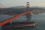 Cargo ship and Golden Gate Bridge