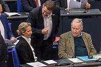 """Sitzung des Deutschen Bundestag am Mittwoch den 4. Maerz 2020.<br /> Im Bild: Alice Weidel und Alexander Gauland (sitzend vlnr.), Fraktionsvorsitzende der rechtsradikalen """"Alternative fuer Deutschland"""" und ihr Parteikollege Stephan Brandner (stehend mitte).<br /> 4.3.2020, Berlin<br /> Copyright: Christian-Ditsch.de<br /> [NUR FUER REDAKTIONELLE ZWECKE! Werbung nur auf Anfrage beim Fotografen. Inhaltsveraendernde Manipulation des Fotos nur nach ausdruecklicher Genehmigung des Fotografen. Vereinbarungen ueber Abtretung von Persoenlichkeitsrechten/Model Release der abgebildeten Person/Personen liegen nicht vor. NO MODEL RELEASE! Don't publish without copyright Christian-Ditsch.de, Veroeffentlichung nur mit Fotografennennung, sowie gegen Honorar, MwSt. und Beleg. Konto: I N G - D i B a, IBAN DE58500105175400192269, BIC INGDDEFFXXX, Kontakt: post@christian-ditsch.de<br /> Bei der Bearbeitung der Dateiinformationen darf die Urheberkennzeichnung in den EXIF- und  IPTC-Daten nicht entfernt werden, diese sind in digitalen Medien nach §95c UrhG rechtlich geschuetzt. Der Urhebervermerk wird gemaess §13 UrhG verlangt.]"""