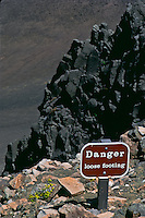 A danger warning sign posts the obvious of the rugged landscape in HALEAKALA NATIONAL PARK on Maui in Hawaii