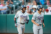 Socrates Brito (29) of the Reno Aces during the game against the Salt Lake Bees in Pacific Coast League action at Smith's Ballpark on June 15, 2017 in Salt Lake City, Utah. The Aces defeated the Bees 13-5. (Stephen Smith/Four Seam Images)