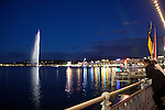 The Jet d'Eau on Lake Geneva at night, Geneva, Switzerland