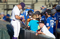 Gavin Sheets (24) of the Winston-Salem Dash signs autographs prior to the game against the Frederick Keys at BB&T Ballpark on July 26, 2018 in Winston-Salem, North Carolina. The Keys defeated the Dash 6-1. (Brian Westerholt/Four Seam Images)