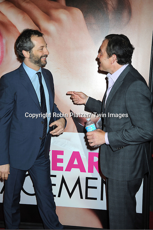 """Judd Apatow and actor Steve Guttenberg arrives to The World Premiere of """" The Five-Year Engagement"""" at the opening night of The Tribeca Film Festival at the Ziegfeld Theatre in New York City on .April 18, 2012."""
