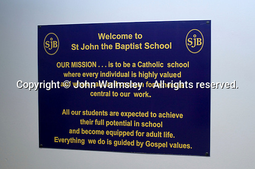 Mission statement at a Roman Catholic school.  State secondary school.