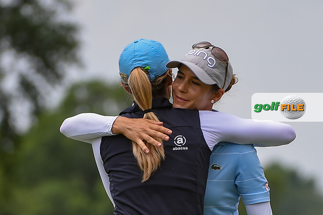 Azahara Munoz (ESP) hugs Jaye Marie Green (USA) following round 2 of the 2019 US Women's Open, Charleston Country Club, Charleston, South Carolina,  USA. 5/31/2019.<br /> Picture: Golffile | Ken Murray<br /> <br /> All photo usage must carry mandatory copyright credit (© Golffile | Ken Murray)