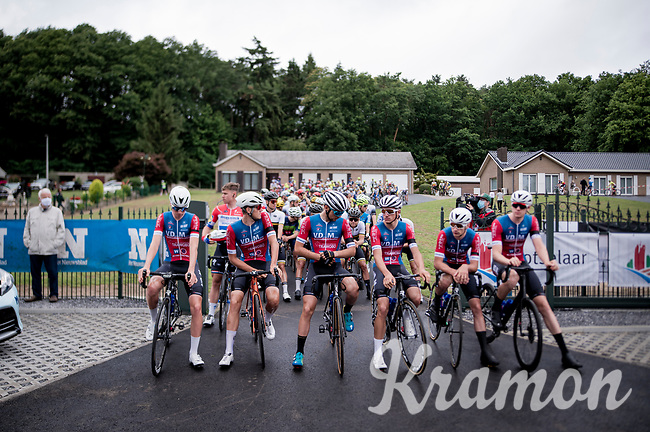 a minute of silence for the day-earlier deceased Niels De Vriendt with his teammates at the front<br /> <br /> at the start of the inaugural GP Vermarc 2020, which is the very first pro cycling race in Belgium after the covid19 lockdown of Spring 2020 & which was only set up some weeks in advance to accommodate belgian teams by providing racing opportunities asap after the lockdown allowed for racing to restart (but still under strict quarantine / social distancing measures for the public, riders & press)<br /> <br /> Rotselaar (BEL), 5 july 2020<br /> ©kramon