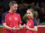 Coach Stephen Jenkins gives advice to Wales Anna Hursey<br /> <br /> *This image must be credited to Ian Cook Sportingwales and can only be used in conjunction with this event only*<br /> <br /> 21st Commonwealth Games - Table tennis -  Day 2 - 06\04\2018 - Oxenford - Gold Coast City - Australia