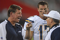 Aug 25, 2007; Glendale, AZ, USA; San Diego Chargers quarterback Philip Rivers (17) looks on as head coach Norv Turner argues with a referee during the game against the Arizona Cardinals at University of Phoenix Stadium. San Diego defeated Arizona 33-31. Mandatory Credit: Mark J. Rebilas-US PRESSWIRE