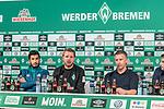 11.04.2019, Weserstadion, Bremen, GER, 1.FBL, PK SV Werder Bremen<br /> <br /> im Bild <br /> Übersicht, Nuri Sahin (Werder Bremen #17), Florian Kohfeldt (Trainer SV Werder Bremen), Frank Baumann (Geschäftsführer Fußball Werder Bremen), <br /> bei PK / Pressekonferenz vor dem Heimspiel gegen SC Freiburg, <br /> <br /> Foto © nordphoto / Ewert
