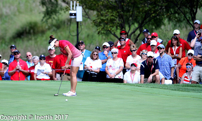 DES MOINES, IA - AUGUST 18: USA's Gerina Piller rolls her birdie putt to the cup on the 1st hole during her afternoon match at the 2017 Solheim Cup in Des Moines, IA. (Photo by Dave Eggen/Inertia)