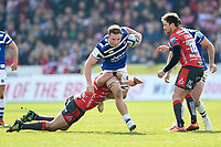 Sam Underhill of Bath Rugby takes on the Gloucester Rugby defence. Gallagher Premiership match, between Gloucester Rugby and Bath Rugby on April 13, 2019 at Kingsholm Stadium in Gloucester, England. Photo by: Patrick Khachfe / Onside Images