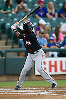 Fresno Grizzlies designated hitter Juan Ciriaco #13 at bat during the Pacific Coast League baseball game against the Round Rock Express on May 18, 2012 at The Dell Diamond in Round Rock, Texas. The Grizzlies defeated the Express 5-2. (Andrew Woolley/Four Seam Images)