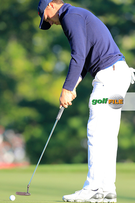 Jordan Spieth US Team takes his putt on the 3rd green during Saturday Morning Foursomes Matches of the 41st Ryder Cup, held at Hazeltine National Golf Club, Chaska, Minnesota, USA. 1st October 2016.<br /> Picture: Eoin Clarke | Golffile<br /> <br /> <br /> All photos usage must carry mandatory copyright credit (&copy; Golffile | Eoin Clarke)