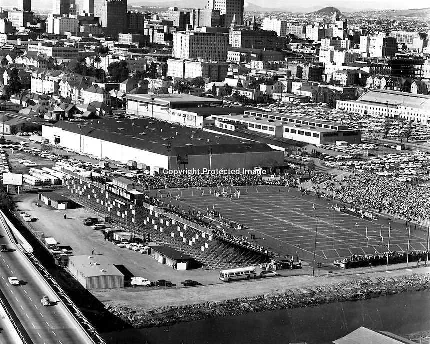 Frank Youell Field in downtown Oaklan home of the Oakland Raiders 1962. (photo by Ron Riesterer)