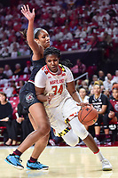 College Park, MD - NOV 13, 2017: Maryland Terrapins forward Brianna Fraser (34) drives to the basket against South Carolina Gamecocks forward A'ja Wilson (22) during game between No. 4 ranked South Carolina and the No. 15 Maryland Terrapins at the XFINITY Center in College Park, MD. The Gamecocks defeated Maryland 94-86.  (Photo by Phil Peters/Media Images International)