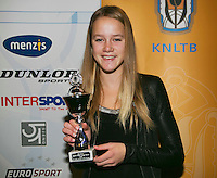 01-12-13,Netherlands, Almere,  National Tennis Center, Tennis, Winter Youth Circuit, Girls 16 years , 6 th place: Nina Kruijer  <br /> Photo: Henk Koster