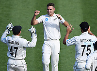 30th November 2019, Hamilton, New Zealand;  Tim Southee celebrates the wicket of Sibley on day 2 of 2nd test match between New Zealand and England,  International Cricket at Seddon Park, Hamilton, New Zealand.  - Editorial Use