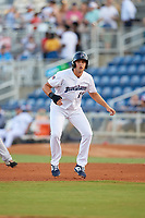 Pensacola Blue Wahoos Alex Kirilloff (19) leads off first base during a Southern League game agains the Biloxi Shuckers on May 3, 2019 at Admiral Fetterman Field in Pensacola, Florida.  (Mike Janes/Four Seam Images)