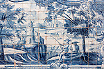 Detail of the azulejos (blue and white tiles) in the Gothic cloister of the Cathedral of Porto in Portugal.