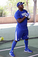 Yasiel Puig, a native Cuban signed to a contract by the Los Angeles Dodgers, works out at the Dodgers complex at Camelback Ranch in Glendale, Arizona on July 12, 2012. Puig will start his career with the Dodgers' Arizona League affiliate. (Bill Mitchell)