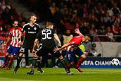 31st October 2017, Wanda Metropolitano, Madrid, Spain; UEFA Champions League, Atletico Madrid versus Qarabag FK; Angel Martin Correa (11) of Atletico Madrid gets away from Ansi Agolli (25) and Jakub Rzezniczak (52) of Qarabag