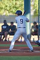AZL Padres 1 Chris Givin (9) at bat during an Arizona League game against the AZL Indians Red on June 23, 2019 at the Cleveland Indians Training Complex in Goodyear, Arizona. AZL Indians Red defeated the AZL Padres 1 3-2. (Zachary Lucy/Four Seam Images)