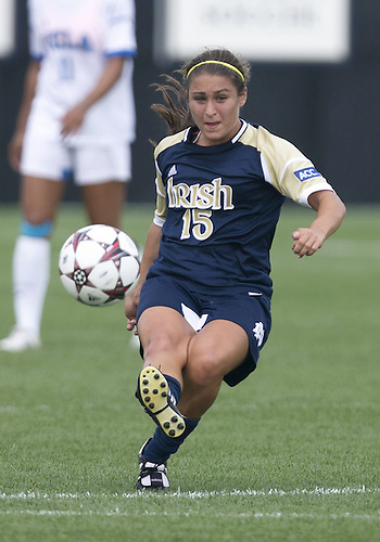 September 01, 2013:  Notre Dame midfielder Karin Simonian (15) kicks the ball upfield during NCAA Soccer match between the Notre Dame Fighting Irish and the UCLA Bruins at Alumni Stadium in South Bend, Indiana.  UCLA defeated Notre Dame 1-0.