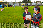 Ben and Sam Jones, St Pats Blennerville juvenile players take to their home pitch as the club facilities reopen.