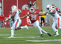 NWA Democrat-Gazette/MICHAEL WOODS • @NWAMICHAELW<br /> University of Arkansas defender Jared Collins tries to tackle Auburn running back Peyton Collins during Saturdays game October, 24, 2015 against Auburn at Razorback Stadium in Fayetteville.