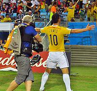 CUIABA - BRASIL -24-06-2014. James Rodriguez (#10) jugador de Colombia (COL) celebra un gol anotado a Japón (JPN) durante partido del Grupo C de la Copa Mundial de la FIFA Brasil 2014 jugado en el estadio Arena Pantanal de Cuiaba./ James Rodriguez (#10) player of Colombia (COL) celebrates a goal scored to Japan (JPN) during the macth of the Group C of the 2014 FIFA World Cup Brazil played at Arena Pantanal stadium in Cuiaba. Photo: VizzorImage / Alfredo Gutiérrez / Contribuidor