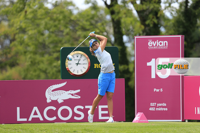 Lexi Thompson (USA) tees off the 15th tee during Sunday's Final Round of the LPGA 2015 Evian Championship, held at the Evian Resort Golf Club, Evian les Bains, France. 13th September 2015.<br /> Picture Eoin Clarke | Golffile