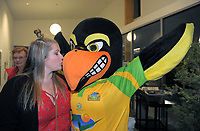 The Hawks mascot celebrates after the Gold Coast Hawks v Brisbane Pirates semifinal. Bowls Premier League at Naenae Bowling Club in Wellington, New Zealand on Thursay, 26 April 2018. Photo: Dave Lintott / lintottphoto.co.nz