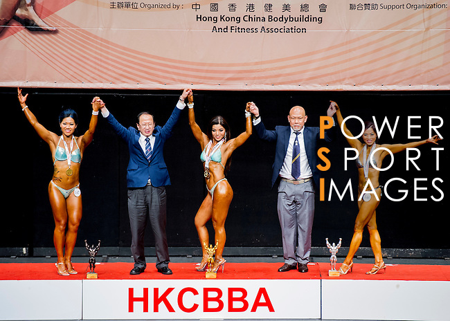 Winners of the Women's Athletic Physique category during the 2016 Hong Kong Bodybuilding Championships on 12 June 2016 at Queen Elizabeth Stadium, Hong Kong, China. Photo by Lucas Schifres / Power Sport Images