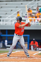 Justin Garcia (16) of the Greeneville Astros at bat against the Kingsport Mets at Hunter Wright Stadium on July 7, 2015 in Kingsport, Tennessee.  The Mets defeated the Astros 6-4. (Brian Westerholt/Four Seam Images)