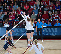 STANFORD, CA - December 1, 2018: Holly Campbell, Jenna Gray, Kathryn Plummer at Maples Pavilion. The Stanford Cardinal defeated Loyola Marymount 25-20, 25-15, 25-17 in the second round of the NCAA tournament.