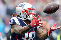 Sunday, October 2, 2016: New England Patriots running back Brandon Bolden (38) tries to make a catch during the NFL game between the Buffalo Bills and the New England Patriots held at Gillette Stadium in Foxborough Massachusetts. Buffalo defeats New England 16-0. Eric Canha/Cal Sport Media