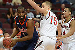 March 8, 2014; Las Vegas, NV, USA; Pepperdine Waves forward Stacy Davis (5) controls the ball against St. Mary's Gaels forward Beau Levesque (15) during the second half of the WCC Basketball Championships at Orleans Arena.